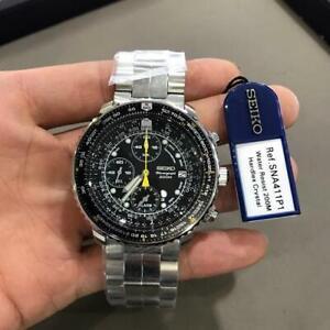 Brand New Seiko Pilot's Flight Alarm Chronograph Men's Watch - SNA411-P1