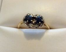 Early Solid 18 Carat Gold Sapphire & Diamond Ring. Was Pair Of Antique Earrings