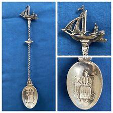 "1953 Antique Dutch Silver 6 5/8"" Spoon Sailing Ship Handle Woman Water Buckets"
