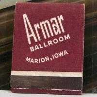 Vintage Matchbook I1 Marion Iowa Armar Ballroom America's Dancing Dance Music