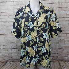 Coldwater Creek Womens Hawaiian Shirt 100% Silk Tropical Top Black Palm Button L