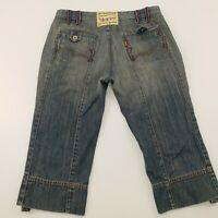 Levi's Womens Vintage Jeans 3/4 W32 Blue Regular Fit Mid Rise Zip Denim