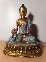 Statue sculpture Bouddha chinois bronze émaux cloisonnés Chine chinese China