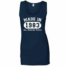 Birthday Ladies Vest Made in 1983 All Genuine Parts Novelty Gift Idea