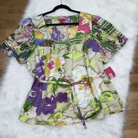 New Sunny Leigh Woman Floral Blouse Top Plus 2X Colorful Print Silky Tie Waist