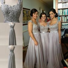 Silver Grey Chiffon Corset Long Bridesmaids Dress, Formal Prom Dress