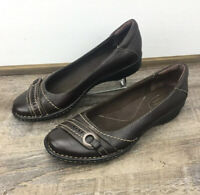 CLARKS Bendables Dutchess Brown Leather Slip On Comfort Ballet Flat Shoe Size 7M