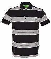 NEW Hugo Boss Black Grey Modern Paddy 1 Cotton Striped Polo Golf Shirt S