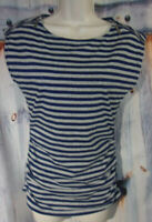 Michael Kors Cap Zip Sleeve Top Stretch Ruched Striped Blue, Gray Womans S Small