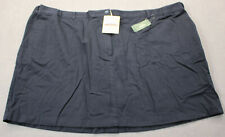 LL BEAN Women Navy Blue Cotton Elastic Stretch Side Tabs Skirt  NWT 26  Waist 50
