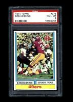 NM-MT 1974 Topps Football #378 Bob Hoskins graded PSA 8.