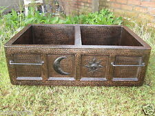 Copper Double Well Farmhouse 50/50 Kitchen Sink 33x22x10