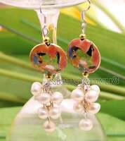 6-7mm White Round Natural Pearl with 18mm Pink Cloisonne Dangle earring-ear516