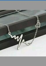 Retro Silver Heart Beat Pendant Necklace MOTHERS DAY