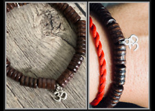 Om Aum Ohm Yoga Meditation Organic Ebony Wood Beaded Stretch Protect Bracelet