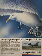 7/1989 PUB DAF SPECIAL PRODUCTS NETHERLANDS F-16 BIRD GULL LANDING ORIGINAL AD