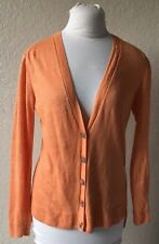 Lafayette 148 New York Burnt Orange Cardigan Small Thin Knit Linen Button 0331