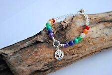 7 Chakra Bracelet Crystal Stones Silver Charm Healing Beads Jewelry Reiki