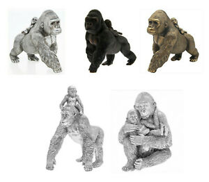 Gorilla and Baby Ornament Monkey Ape Figurine Sculpture - Ideal Mothers Day Gift
