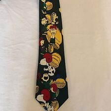 "Men's  Necktie Peanuts Snoopy Football Silk Green Multi colored 58"" x 3 1/2"""