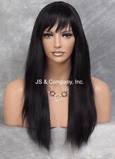 100% HUMAN HAIR Long NEW STRAIGHT Jet Black WIG W. Bangs IHHI 1