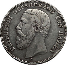 1876 Frederick I Grand Duke of BADEN Germany State BIG SILVER 5 Mark Coin i60049