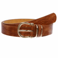Stunning Croco Print Leather Belt with Triple Holder & Equestrian Buckle