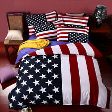 Bedding Set American Flag USA Or UK 100% Cotton Queen Or King Size Sheets Duvet