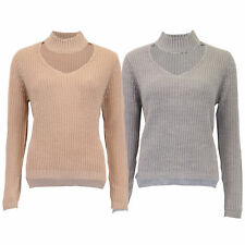 Ladies Jumper Brave Soul Womens Cable Knitted Choker Neck Sweater Dip Hem Winter