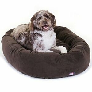 52 inch Chocolate Suede Bagel Dog Bed By Majestic Pet Products