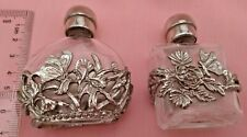 More details for 2 glass perfume bottles ornate silver tone floral butterfly overlay vintage look