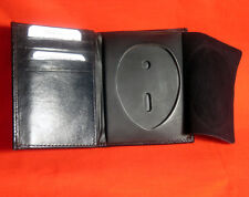 ID Badge Holder Real Leather Wallet Fire Investigator Shield Black Bifold Money