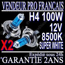 KIT DE 2 AMPOULES LAMPES HALOGENE PHARE XENON GAZ SUPER WHITE H4 100W 8500K 12V