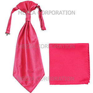New 100% Polyester Men's Horizontal Stripes Ascot Cravat Hankie Party Hot Pink