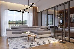 Brand New Corner Sofa Bed With Storage Anton Light Grey Fabric White Leather