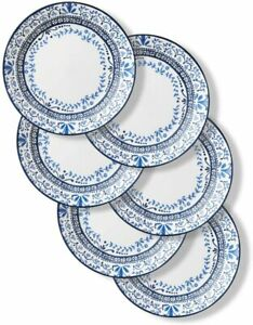 CORELLE Signature Dinner Plates, 6 Piece Set, Portofino, Blue And White, 26 cm