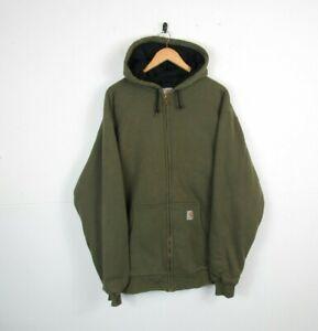 Mens CARHARTT Green Full Zip Heavy Lined Hoodie Workwear Jacket Jumper | XL Tall