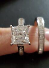Sterling Silver Size 6 Diamonart Princess Wedding Set,