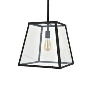 Geo Trapeze Metal and Glass Lantern Pendant Light - Soho Lighting