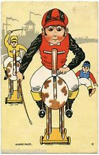 Course de chevaux de bois . Jockey . Race wooden horses. Comic