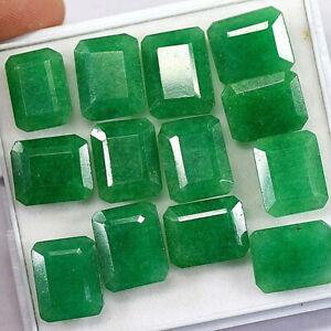 Natural Zambian Green Emerald Cut Faceted Loose Gemstone 150 Ct./13 Pcs Lot
