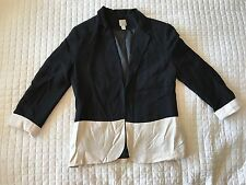 LC Lauren Conrad Sz 4 Business Career Blazer Black Ivory Color Block 3/4 Sleeve