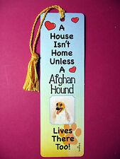 """""""Afghan Hound"""" A House Isn't Home Tassel Bookmark (flag gold tassel) Sku# 61"""