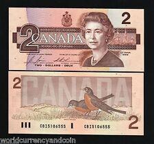 CANADA 2 DOLLARS P94 1986 QUEEN ELIZABETH BIRD UNC BONIN THIESSEN CURRENCY NOTE