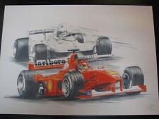 Mini litho Ferrari F1-2000 Schumacher Ferrari 312T4 Scheckter door Markus Vogel