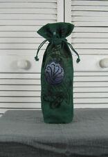 Wine Bottle Gift Bag Wrapper - Green Jute w/ Art Nouveau  Blue Fish Red Moon