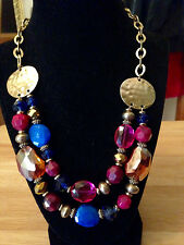 Style & Co. Gold Tone Double Strand Multi Color Bead Frontal Collar Necklace NWT
