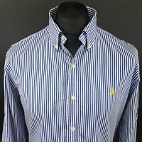 Polo Ralph Lauren Mens Shirt LARGE Long Sleeve Blue SLIM FIT Striped Cotton