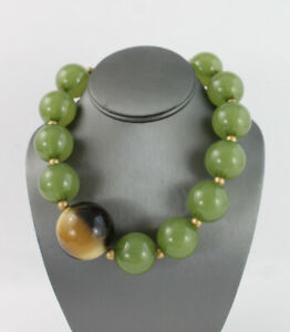 Pono Joan Goodman Green Tan Resin Large Bead Necklace