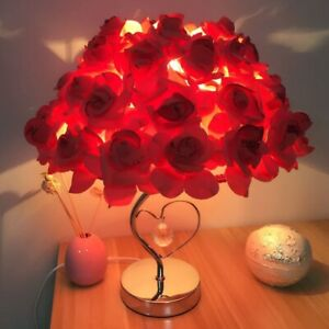 Table Bedside Lamp  Red Rose With Heart Valentine Romantic Wedding Gift